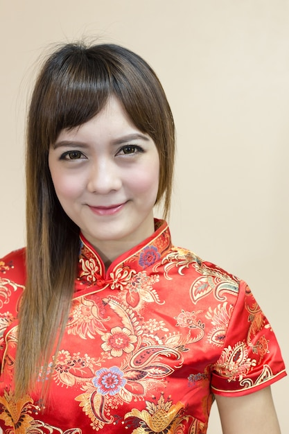 Closeup of asian woman greeting in traditional chinese or cheongsam closeup of asian woman greeting in traditional chinese or cheongsam premium photo m4hsunfo