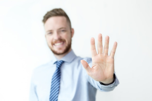 Closeup of Business Man Showing Stop Gesture Free Photo