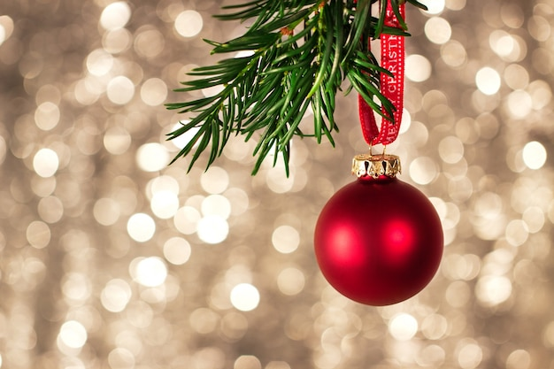 closeup of christmas decorations with bright colorful bokeh on background christmas concept free photo
