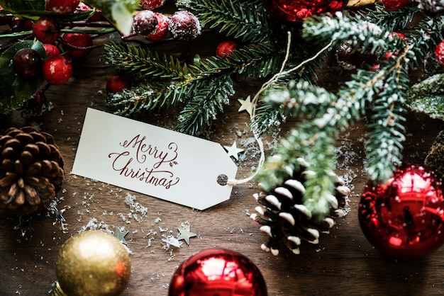 Closeup of Christmas wishing card tag Photo | Premium Download