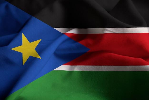 Макрофотография ruffled sudan южный флаг, судан южный флаг, дует в ветре Premium Фотографии