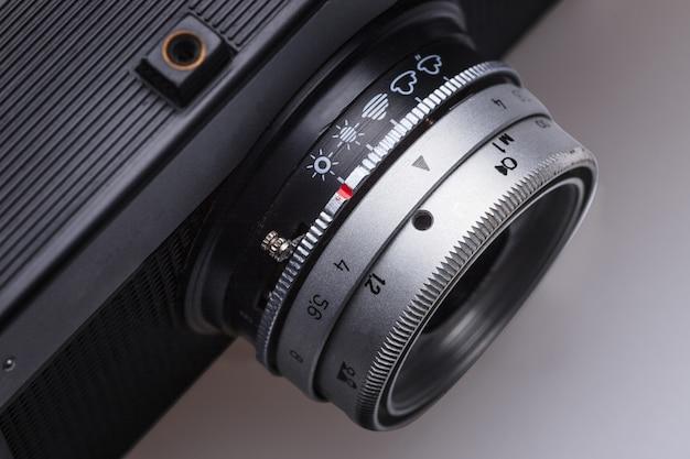 Closeup of old retro film camera lens Free Photo