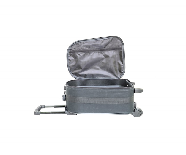 Closeup open black luggage isolated on white Premium Photo