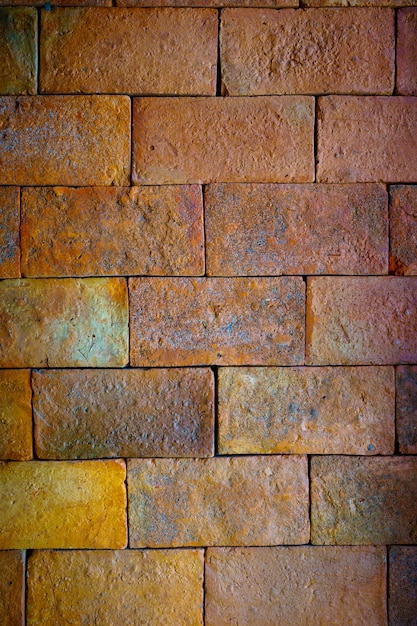 Closeup Red Big Brick Wall Background With Interior Design