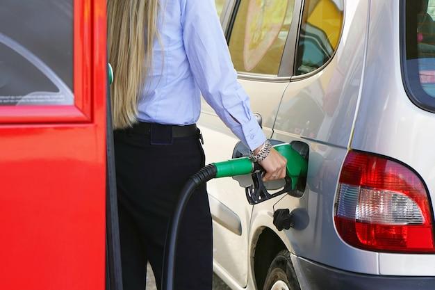 Closeup refuel gasoline in gas-station Premium Photo