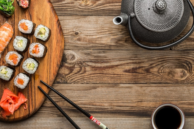 Closeup of rolls with soy sauce, top view Premium Photo