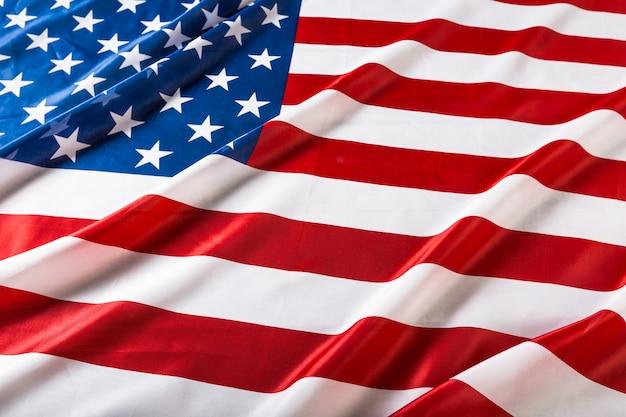 Closeup of ruffled american flag Premium Photo