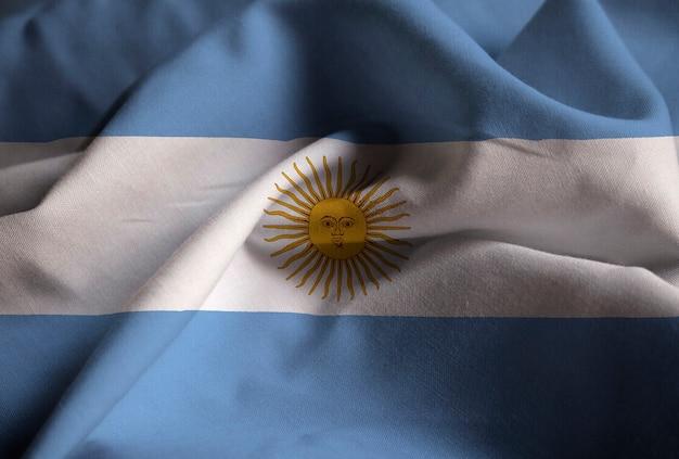 Closeup of ruffled argentina flag, argentinaflag blowing in wind Premium Photo