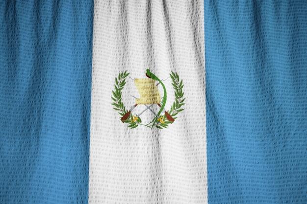Closeup of ruffled guatemala flag, guatemala flag blowing in wind Premium Photo