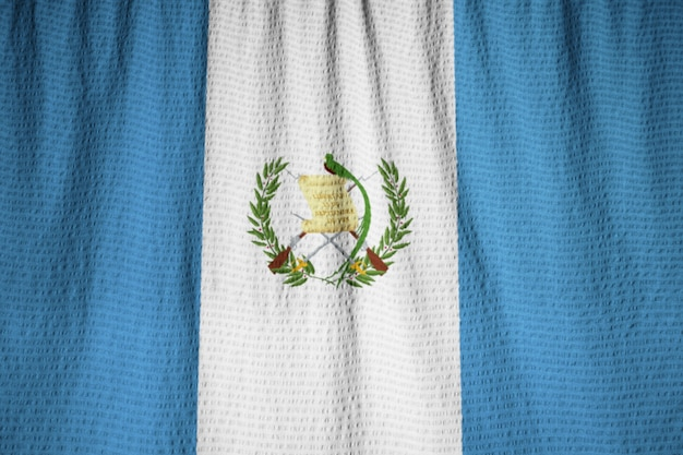 Closeup of ruffled guatemala flag, guatemala flag blowing in wind Premium Photo