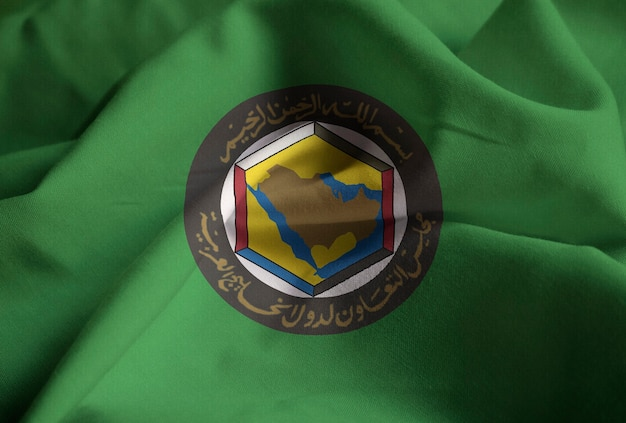 Closeup of ruffled gulf cooperation council flag, gcc flag blowing in wind Premium Photo