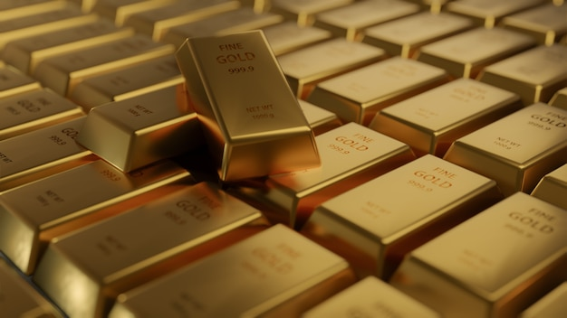 Closeup shiny gold bar arrangement in a row. busienss gold future and financial concept. world economics and currency exchange. money trade and safe haven marketplace, 3d rendering Premium Photo