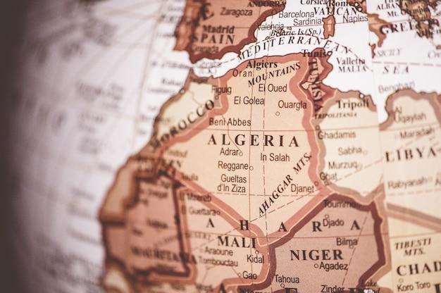 Closeup shot of algeria on the world map - great for geographical articles Free Photo