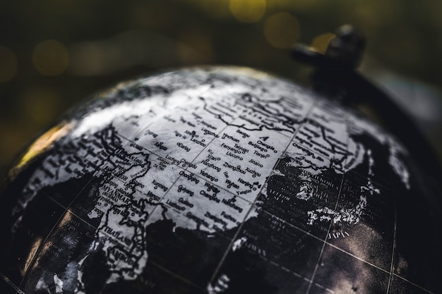 Closeup shot of a black and white wooden globe with a blurred background Free Photo