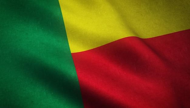 Colpo del primo piano della bandiera del benin con trame interessanti Foto Gratuite
