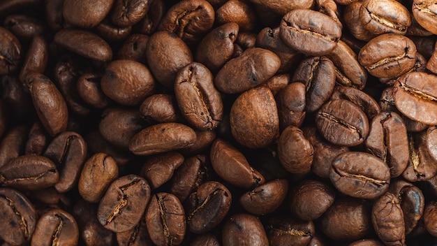 Colpo del primo piano della struttura fresca dei chicchi di caffè-caffè Foto Gratuite