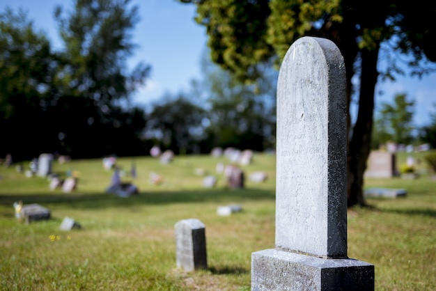 Colpo del primo piano di una pietra tombale con uno sfondo sfocato durante il giorno Foto Gratuite