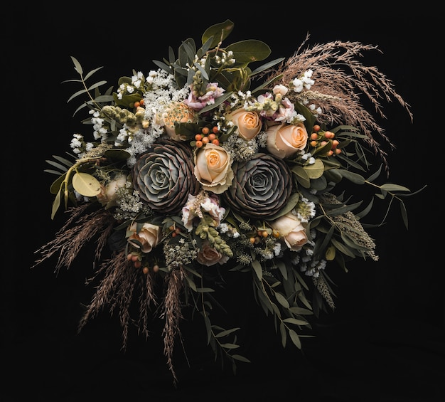 Closeup shot of a luxurious bouquet of orange and brown roses on a black wall Free Photo
