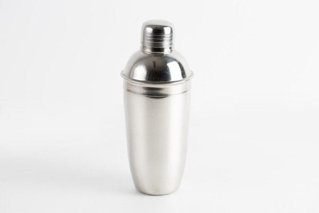 Closeup shot of a metal water bottle isolated Free Photo
