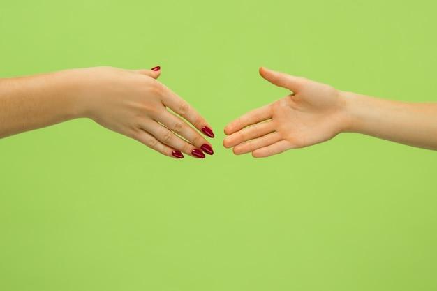 緑で隔離の手を握って人間のクローズアップショット 無料写真