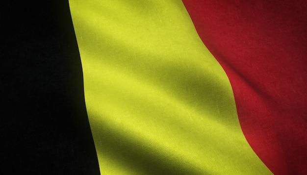 興味深いテクスチャとベルギーの旗のクローズアップショット 無料写真