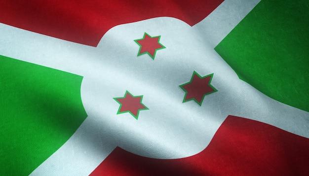 Снимок крупным планом флага бурунди с необычными текстурами Бесплатные Фотографии