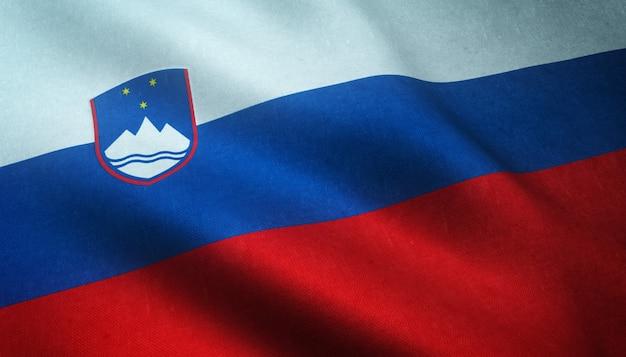 Снимок крупным планом реалистичного флага словении с интересными текстурами Бесплатные Фотографии