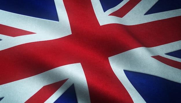 Снимок крупным планом реалистичного флага соединенного королевства с интересными текстурами Бесплатные Фотографии