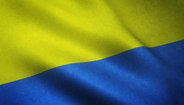 興味深いテクスチャでウクライナの現実的な旗のクローズアップショット 無料写真