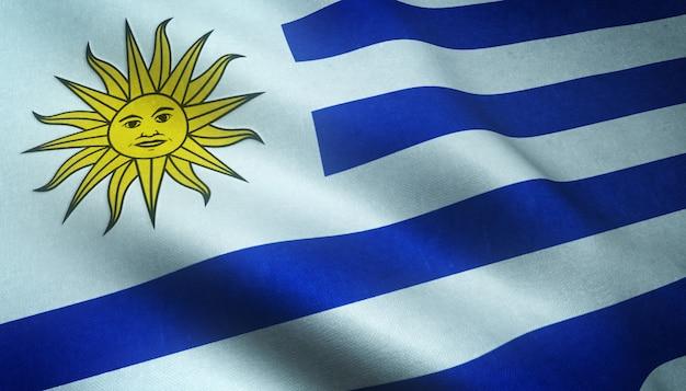 Снимок реалистичного флага уругвая крупным планом с интересными текстурами Бесплатные Фотографии