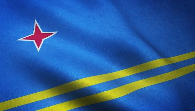 アルバの旗を振っているのクローズアップショット 無料写真