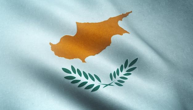 興味深いテクスチャとキプロスの手を振る旗のクローズアップショット 無料写真