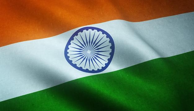 Снимок крупным планом развевающегося флага индии с интересными текстурами Бесплатные Фотографии