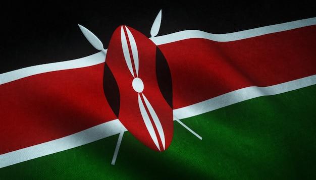 興味深いテクスチャとケニアの旗を振っているのクローズアップショット 無料写真