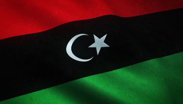 Крупным планом снимок развевающегося флага ливии с интересными текстурами Бесплатные Фотографии