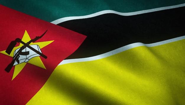 Крупным планом снимок развевающегося флага мозамбика Бесплатные Фотографии
