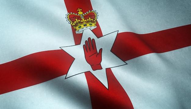 興味深いテクスチャと北アイルランドの旗を振っているのクローズアップショット 無料写真
