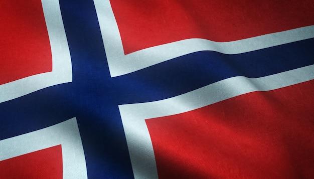興味深いテクスチャとノルウェーの旗を振っているのクローズアップショット 無料写真