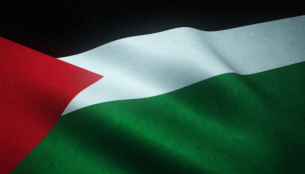 Снимок крупным планом развевающегося флага палестины Бесплатные Фотографии