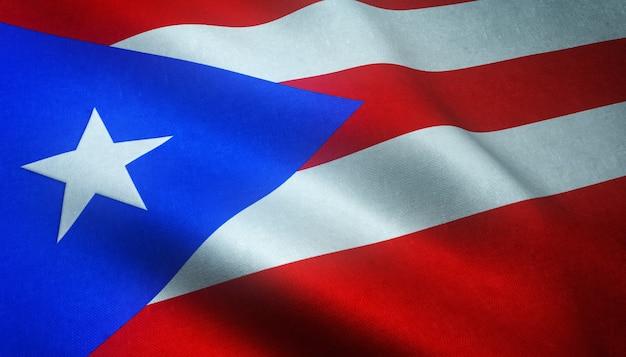 Снимок крупным планом развевающегося флага пуэрто-рико с интересными текстурами Бесплатные Фотографии