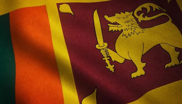 興味深いテクスチャとスリランカの旗を振っているのクローズアップショット 無料写真