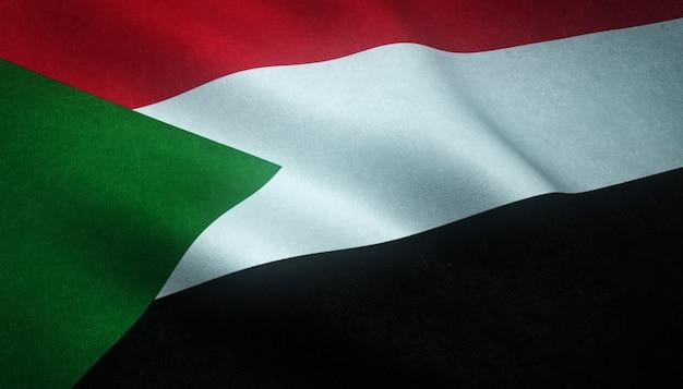 興味深いテクスチャとスーダンの手を振っている旗のクローズアップショット 無料写真