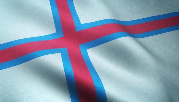 Снимок крупным планом развевающегося флага фарерских островов с интересными текстурами Бесплатные Фотографии
