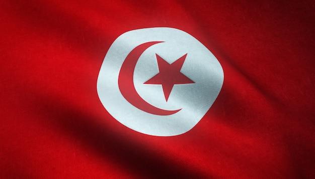 汚れた質感とチュニジアの旗を振ってのクローズアップショット 無料写真