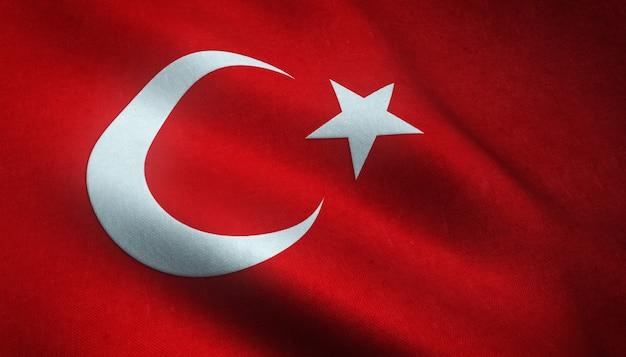 興味深いテクスチャとトルコの手を振る旗のクローズアップショット 無料写真