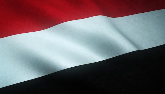 Снимок крупным планом развевающегося флага йемена с интересными текстурами Бесплатные Фотографии