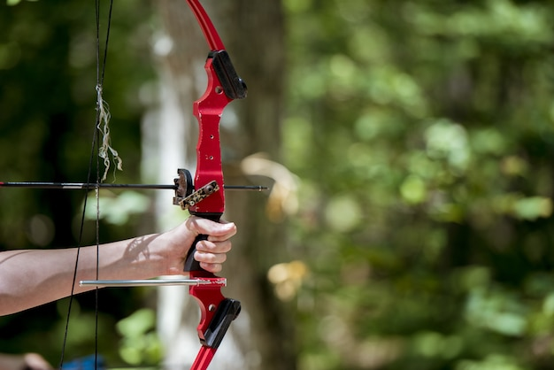 Closeup shot of a person holding up and bow and arrow Free Photo