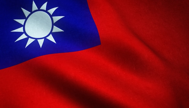 Closeup shot of the realistic flag of taiwan with interesting textures Free Photo