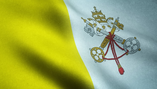 Closeup shot of the realistic flag of vatican city Free Photo