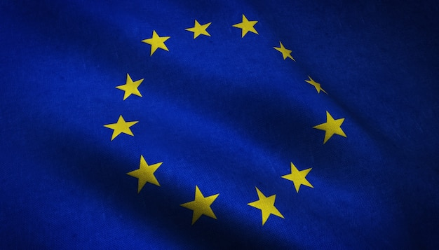 Closeup shot of realistic waving flag of europe with interesting textures Free Photo